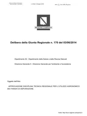 Delibera della Giunta Regionale n. 170 del 03/06/2014