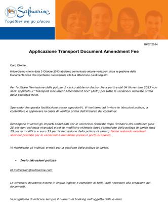 Applicazione Transport Document Amendment Fee