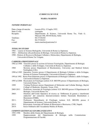 Curriculum vitae - Società Italiana di Fisiologia