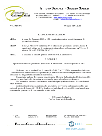 Decreto D.S. pubblicazione graduatorie provvisorie