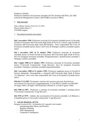 CV Consigliere CdA Prof. Gianluca Colombo
