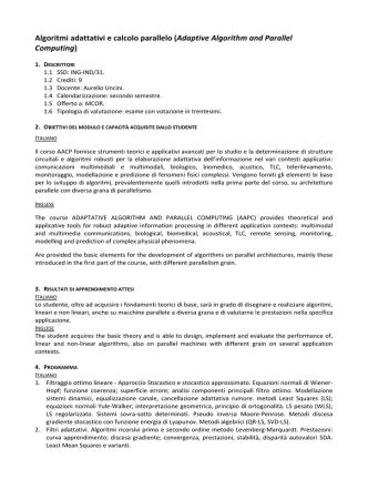Algoritmi adattativi e calcolo parallelo (Adaptive Algorithm and
