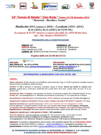 """15° Torneo di Natale """" Ciao Rudy """" Pesaro 27/29 Dicembre 2014"""