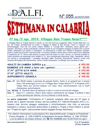 27 lug./3 ago. 2014: Villaggio Baia Tropea Resort****