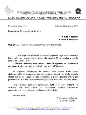 23 Seettembre 14 - Liceo Scientifico Augusto Righi