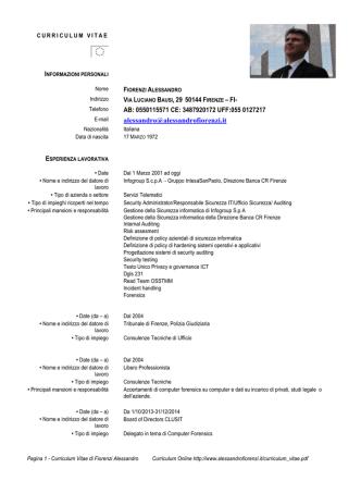 Curriculum Vitae - Studio Informatica Forense