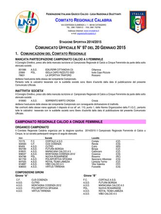 Comunicato Ufficiale n. 97 del 20 Gennaio 2015