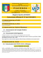 Comunicato Ufficiale N° 27 del 21/01/2015 - F.I.G.C