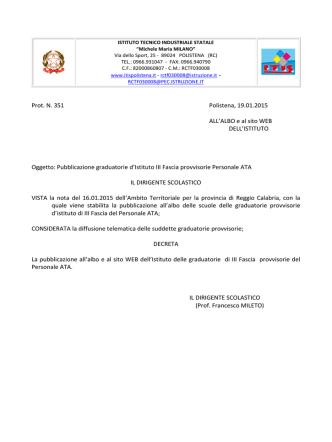 DECRETO PUBBLICAZIONE GRADUATORIE III fascia d