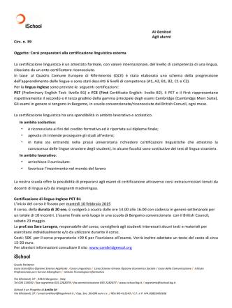 circolare n. 39 certificazione linguistica