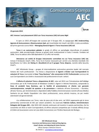 (UK) Ltd come MgA - AEC Underwriting