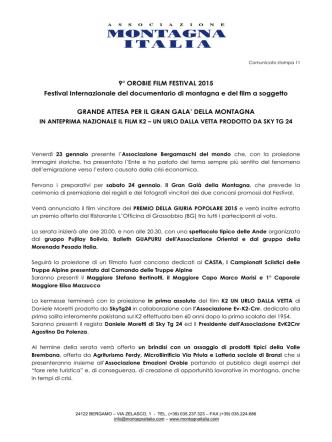Comunicato stampa 11 - Associazione Montagna Italia
