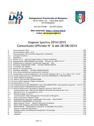 Comunicato Ufficiale N° 6 del 28/08/2014