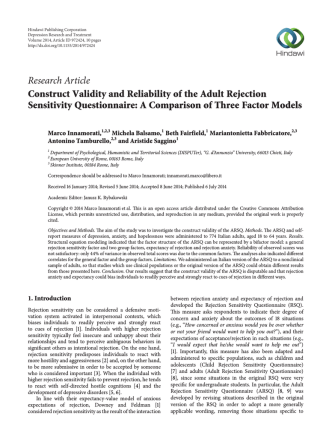 Construct Validity and Reliability of the Adult Rejection Sensitivity