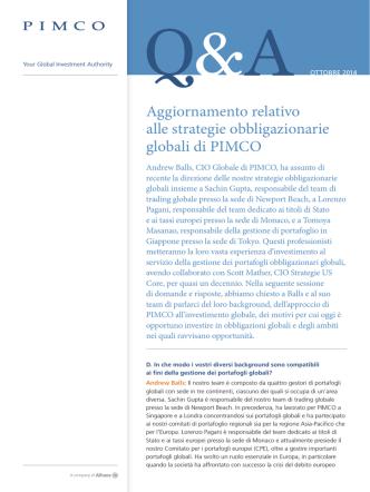 Aggiornamento relativo alle strategie obbligazionarie globali di PIMCO