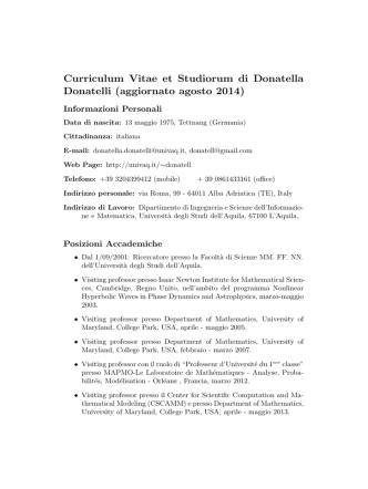 Curriculum Vitae et Studiorum di Donatella Donatelli (aggiornato