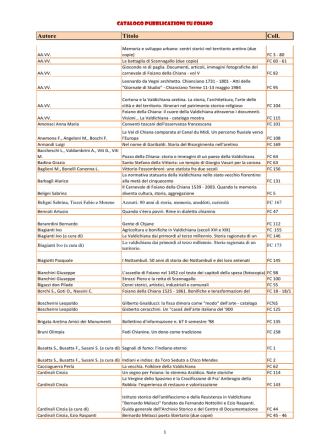 Catalogo Sezione locale - Comune di Foiano della Chiana