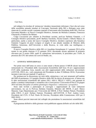 Circolare 2014 (primavera) - Società Italiana di Glottologia