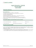 Foglio informativo n. 265/018. Carta di credito