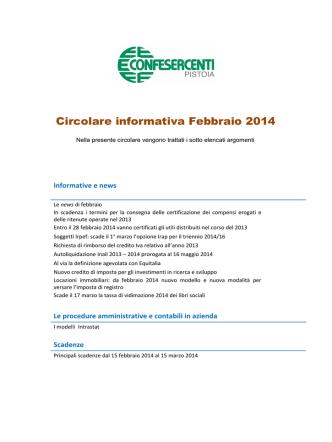 CIRCOLARE FEBBRAIO 2014 - Confesercenti Pistoia