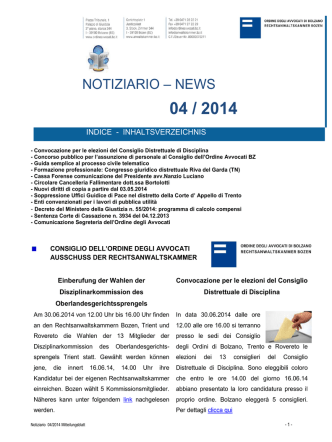 04 / 2014 - Ordine degli Avvocati di Bolzano