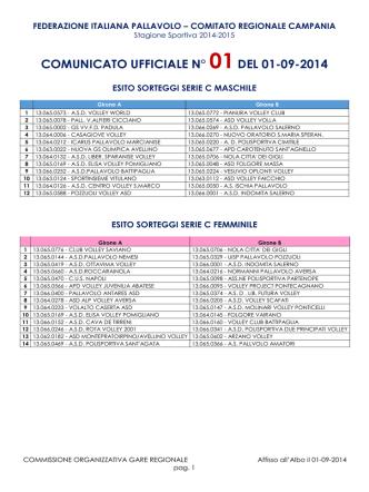 comunicato ufficiale n° 01del 01-09-2014