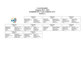 Calendario Esordienti 1° anno