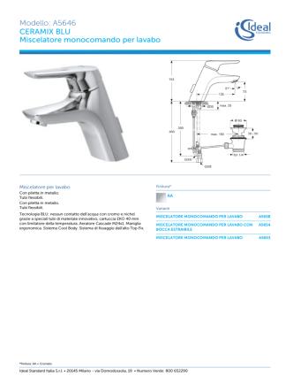 Ceramix Blu - Miscelatore monocomando per