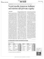 Venti medie imprese italiane nel mirino del private equity (SOLE 24