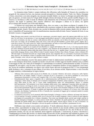 (D) DOMENICA 1a DOPO NATALE – SANTA