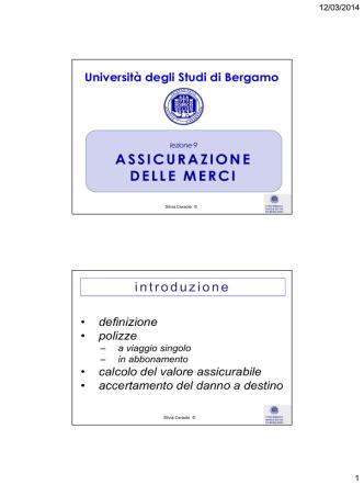 ASSICURAZIONE DELLE MERCI - Università degli studi di Bergamo