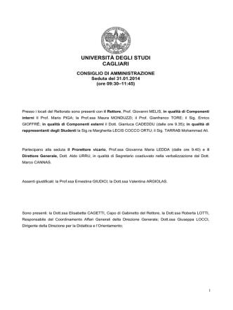 31 gennaio 2014 - Università degli studi di Cagliari.