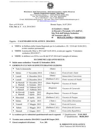 Calendario scolastico 2014/15 - Home