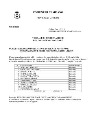 DELIBERA DI C.C. N. 47 DEL 29.10.2014