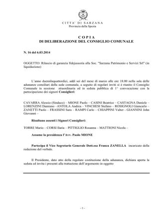 copia di deliberazione del consiglio comunale