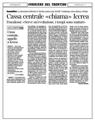 Cassa centrale «chiama» Iccrea - Federazione Trentina della