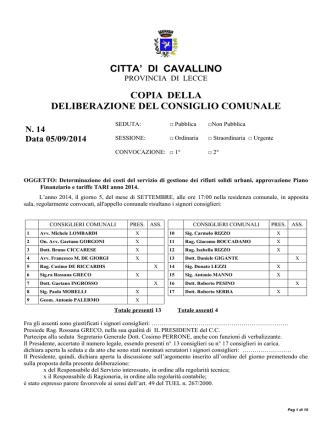 Delibera di Approvazione Tariffe TARI 2014