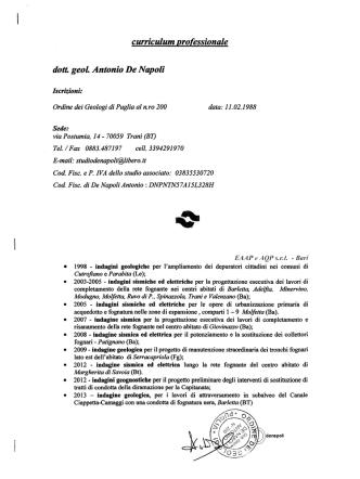 curriculum professionale dott geoL Antonio De Napoli