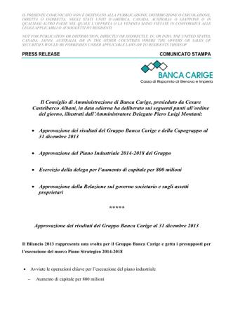 Comunicato stampa - Relazione Finanziaria 2012