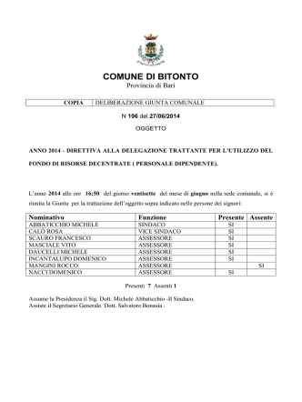 Delibera GC n. 196 del 27-06-2014