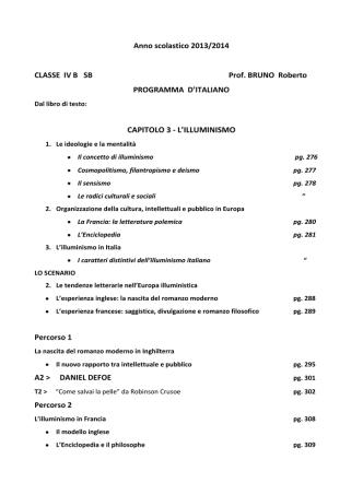 Anno scolastico 2013/2014 CLASSE IV B SB Prof