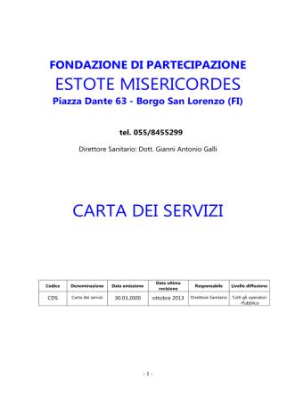 CARTA DEI SERVIZI della Fondazione