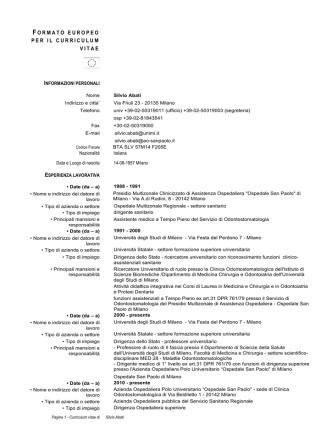 Curriculum Vitae - Azienda Ospedaliera San Paolo