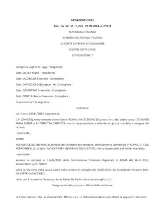 CASSAZIONE CIVILE Cass. civ. Sez. VI - 5, Ord., 29-09