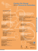 2014 CRM Workshop - Centro di Ricerca Matematica Ennio De Giorgi