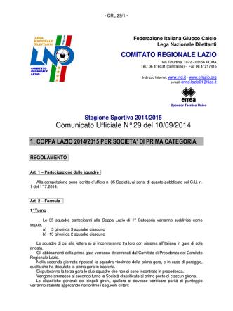 Circolare Coppa Italia