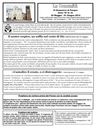 25 mag.-01 giu 2014 - Parrocchia di Zianigo