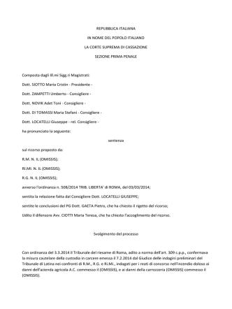 Cass. pen. sez. I, 9 settembre 2014 (ud. 6 giugno 2014), n. 37366