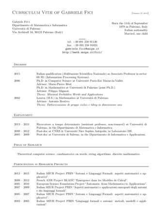 Curriculum Vitae - Dipartimento di Matematica e Informatica