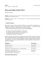 Dieci anni della rivista ITALS